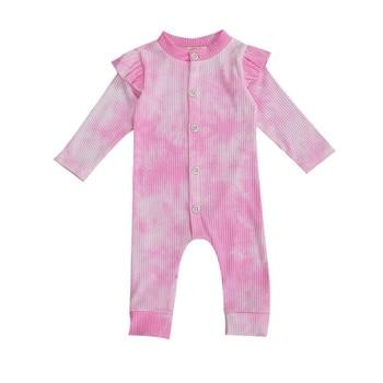цена на Free Shipping Autumn Newborn Baby Boy Girl Rompers Unisex Ruffles Long Sleeve Rompers Tie-dye Printing Ribbed Jumpsuit Infant