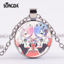 SONGDA Cute Twins Maid Ram Rem Necklace Trendy Re Zero Starting Life In Another World Pendant Choker Girls Cosplay Party Jewelry(China)