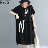 NYFS 2019 New Summer dress Fashion Comfortable Stripe splicing Women dress Loose Cotton Linen long dress Vestidos Robe Elbise