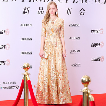 Shiny Sequins Evening Dress Gold Appliques Beading A Line Formal Dresses Sleeve O Neck Robe De Soiree Half Long Party Gowns K179
