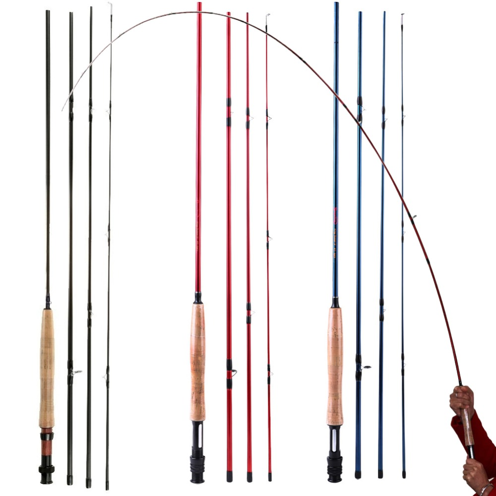Sougayilang Fly Fishing Rod High Performance 4 piece Fast Action IM8 Carbon Fiber Fly Fishing Rod Pole for Freshwater Fishing