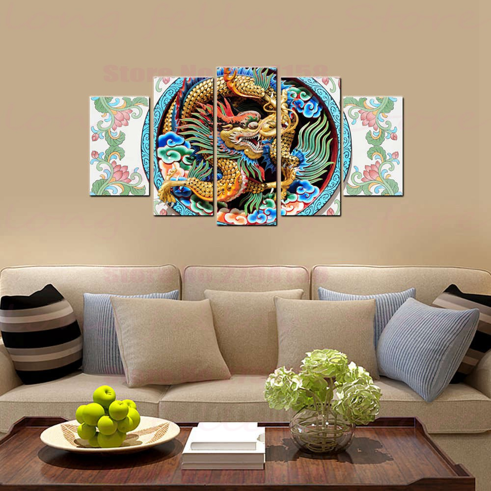 Chinese Traditional Culture Dragon Sculpture Lotus Still Life Landscape Picture for Dining Room Home Decor Abstract Dropshipping