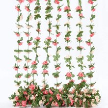 8Pcs Artificial Rose Vine Flowers with Green Leaves,Hanging Flower Garland Roses Vine for Wedding Party Craft Wall Decor(China)