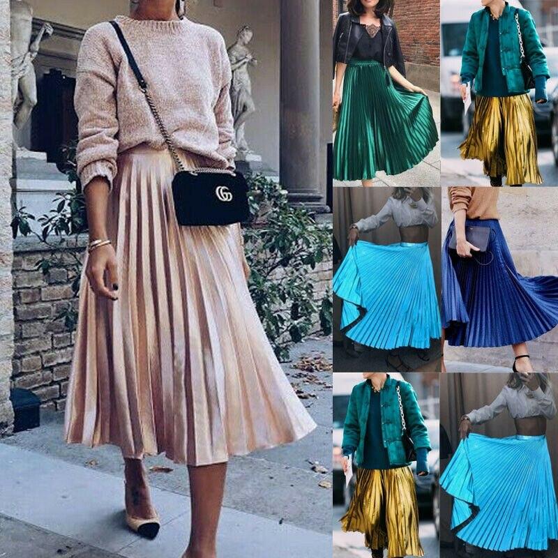 Autumn 2019 Women Long Metallic Silver Maxi Pleated Skirt Midi Skirt High Waist Elascity Casual Party Skirt