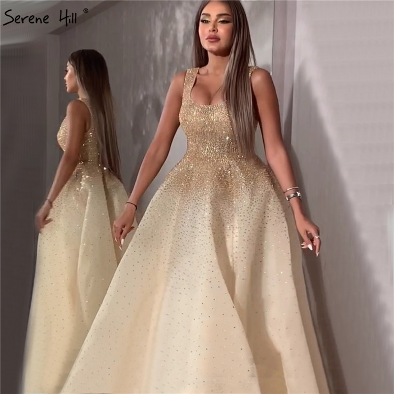Dubai Champange Full Crystal A-Line Evening Dresses Design Sleeveless Luxury Sexy Evening Gowns Serene Hill LA70232