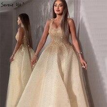 Dubai champange cheio de cristal a linha vestidos de noite design sem mangas luxo sexy vestidos de noite sereno hill la70232