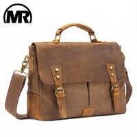 Markroyal vintage crazy horse couro lona sacos do mensageiro portátil maleta crossbody bolsa de viagem para homens