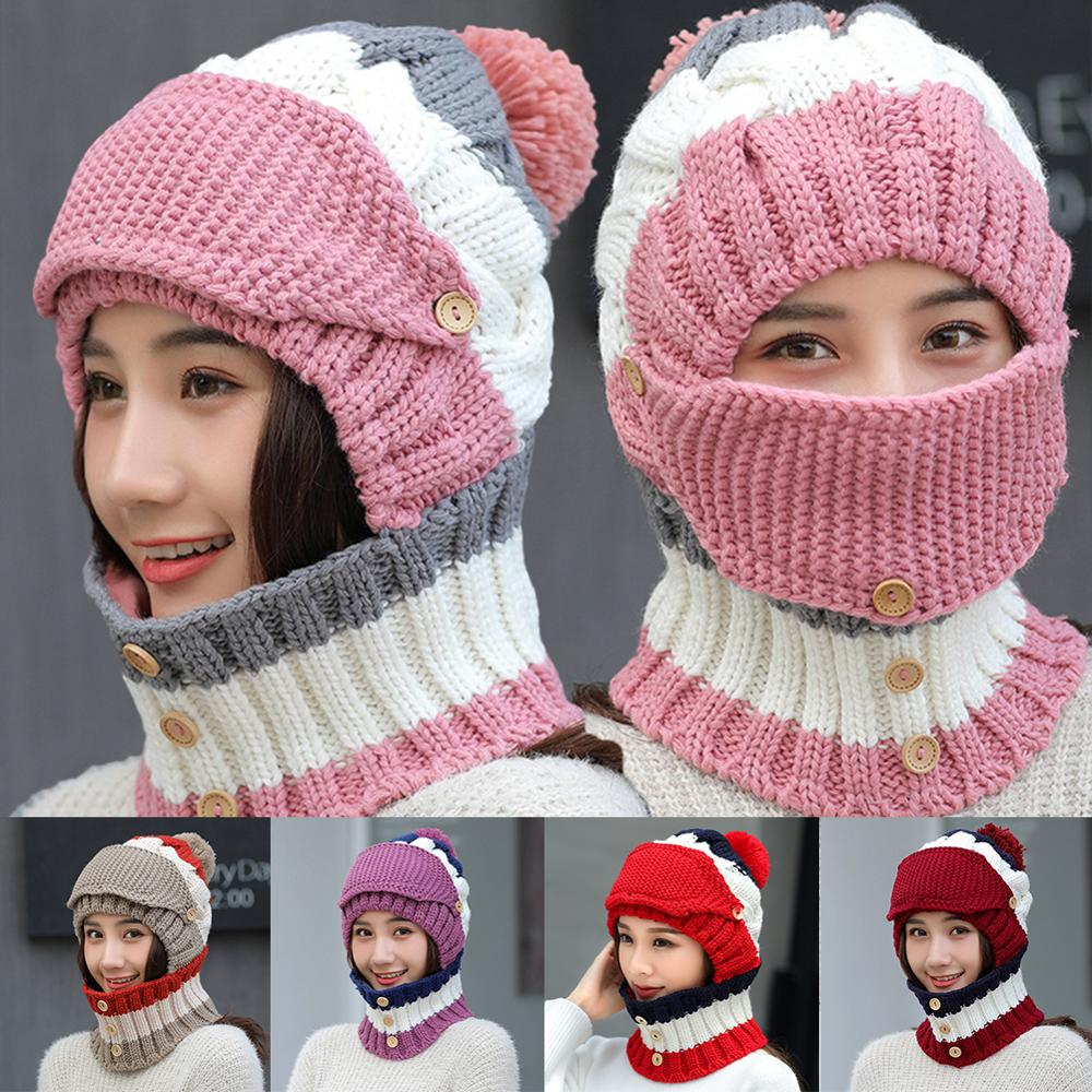 Women Knit  Hat Scarf Set With Face Mask Motorcycle Full Face Mask Ski Balaclava Winter Warm Beanie Bicycle Detachable Mask|Motorcycle Face Mask| |  -