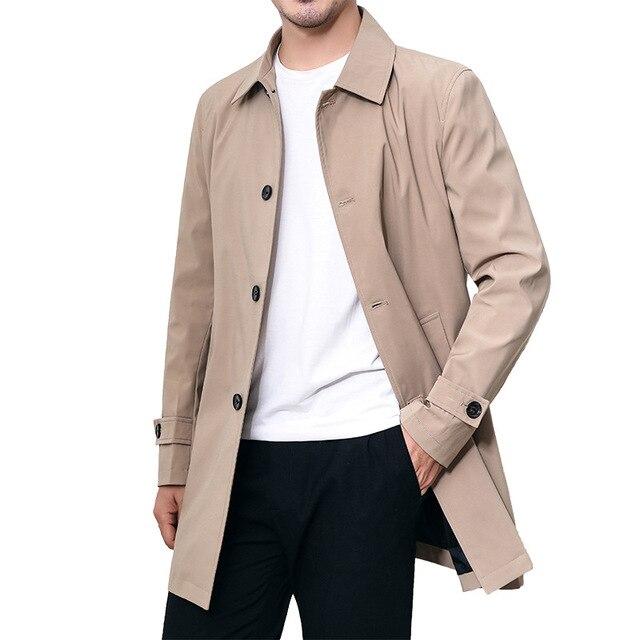 Mens Overcoat Business Casual Autumn Winter Coat Thick Windbreaker Fashion Khaki Long Trench Coat Men Xxxl 4xl Outerwear Boy Hot 5