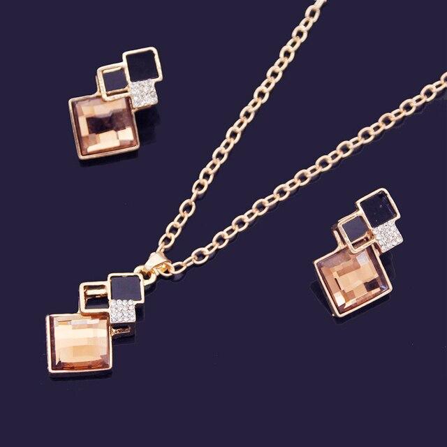 Crystal Geometric Pendants Necklace Earrings Sets for Women Fashion Jewelry Set Bridal Wedding Earring Necklace Set 2