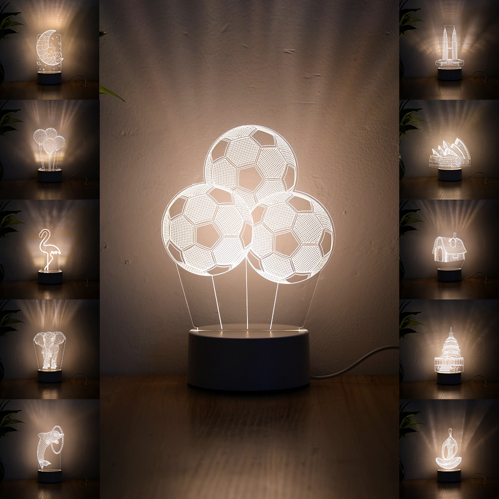 Newest Acrylic The Neon Lights 3D Stereo Night Light Small Table Lamp Bedside Lamp LED Lamp Birthday Festival Children Decorate