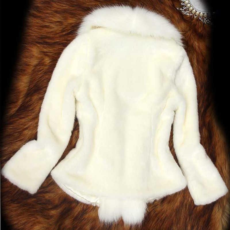 Stałe zima Faux lisa futro płaszcz kobiety Plus rozmiar długie rękawy Parka płaszcze kurtka kobiet elegancki Slim ciepłe krótkie miękkie faux Fur Coat