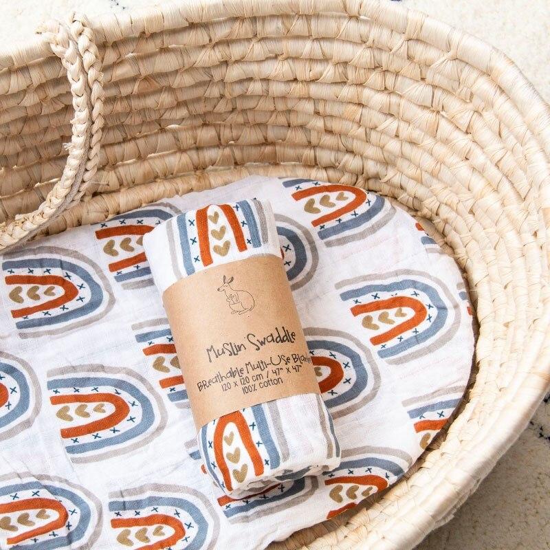 120X120cm Baby Muslin Swaddle Blanket Newborn Baby Bath Towel Multi Functions Swaddle Blankets Baby Wrap Cotton Diaper