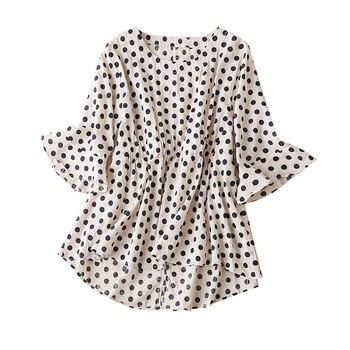цена на Cotton  Vintage  Polka Dot Blusas De Mujer Largos Sueltos Flare Sleeve Women's Summer Cotton Shirt Blusas Para Senoritas