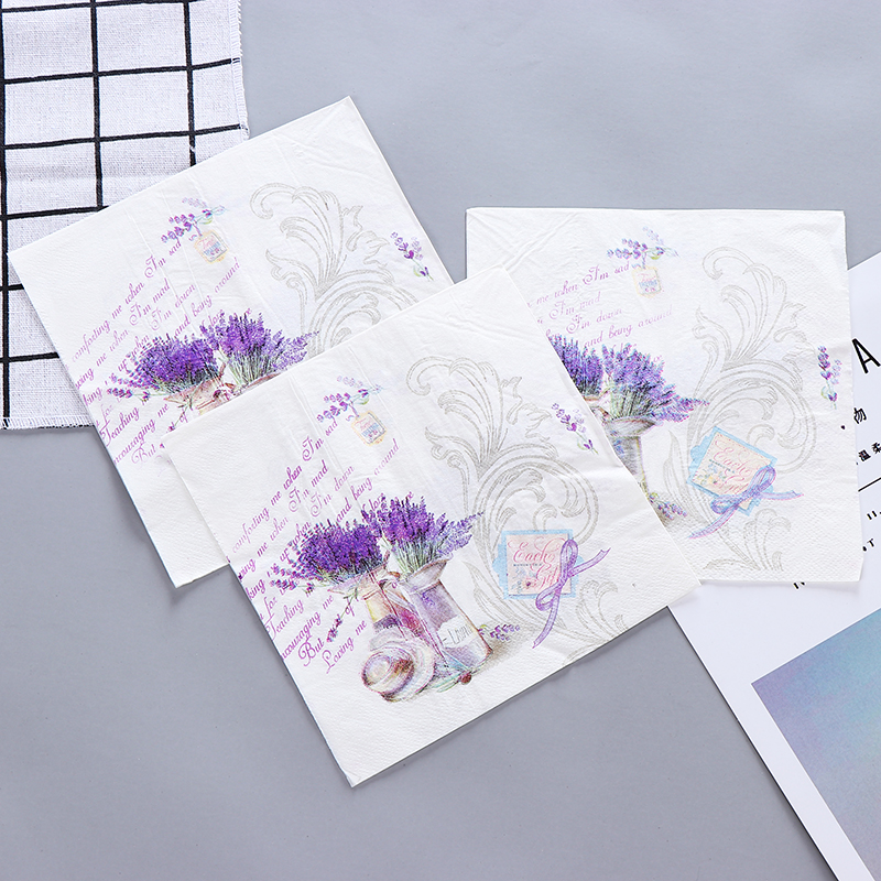 10pcs Food-graded Purple Lavender Flower Vase Printed Napkin Paper Virgin Wood Tissue For Wedding Party Decoration