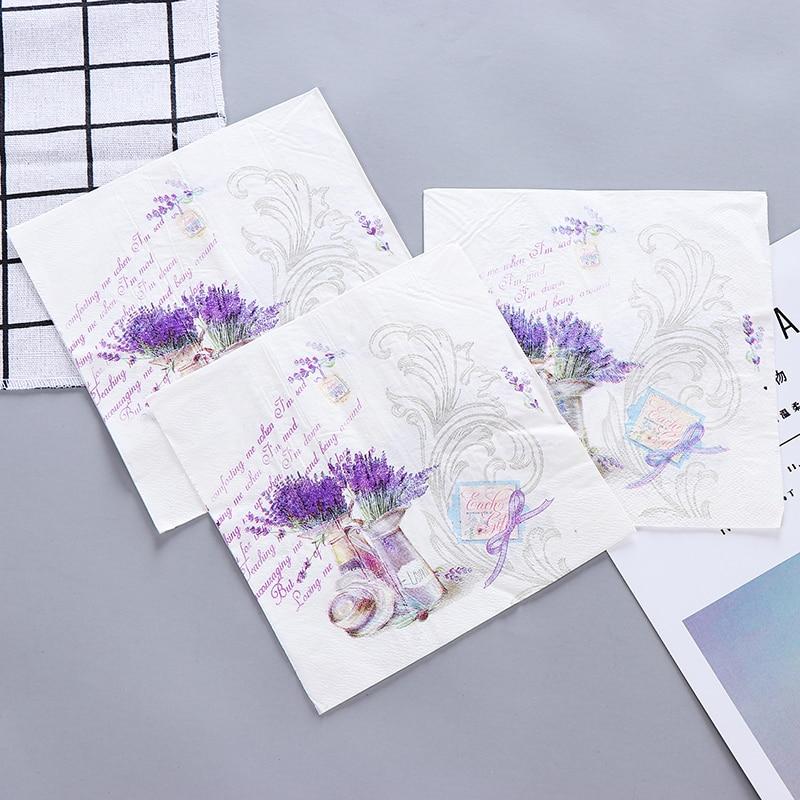 10pcs Food-graded Purple Lavender Flower Vase Printed Napkin Paper Virgin Wood Tissue For Wedding Party Decoration