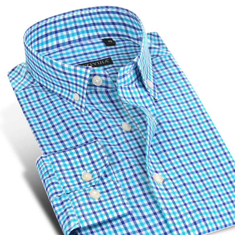 England Style Plaid Checkered Cotton Men's Shirts Pocket-less Design Full Sleeve Casual Standard-fit Button-down Gingham Shirt