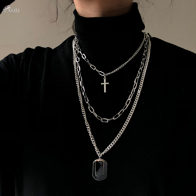 AOMU Girl Gift Metal Silver Cross Pendants Necklace For Women Men Lovers Jewelry Geometric Rectangle Clavicle Chain Necklace