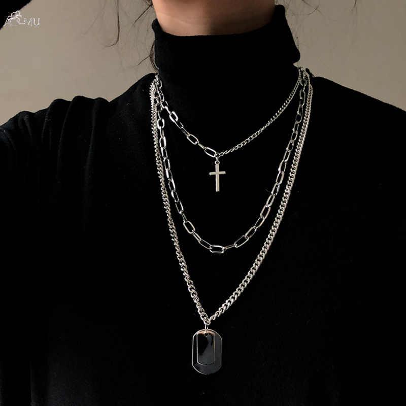 Aomu menina presente de metal prata cruz pingentes colar para amantes dos homens jóias geométrico retângulo clavícula corrente colar