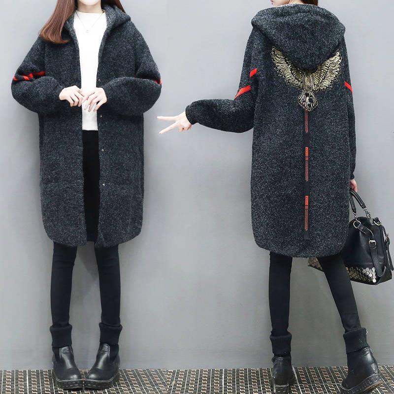 Knitted Sweater   Trench   Coat For Women Winter Thickening Coat Female Woolen Outerwear Loose Overcoat Women Windbreaker