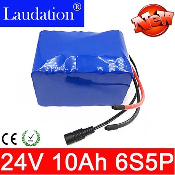 Laudation DC 24V 10ah lithium ion battery pack 25.2 V 18650 6S 5P motor wheelchair 250w 350w electric bicycle ebike built in BMS