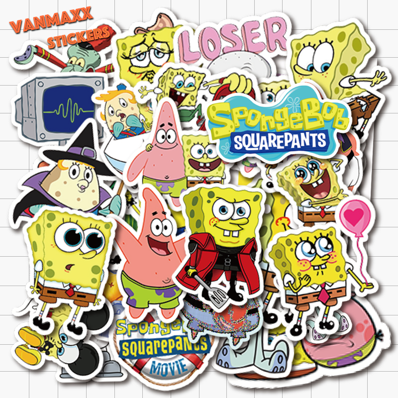 VANMAXX 50 PCS Sponge Bob SquarePant Cartoon Stickers Waterproof PVC Decal For Laptop Helmet Bicycle Luggage Guitar Kids Sticker