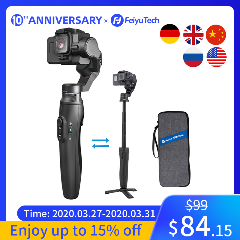 Feiyutech feiyu vimble 2a câmera de ação cardan handheld estabilizador com 180mm extensão pólo para gopro hero 5 6 7