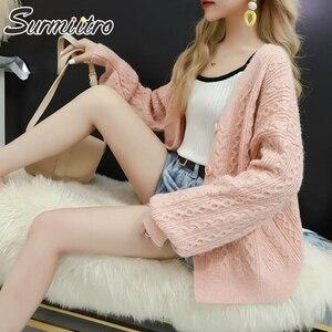 Image 5 - Surmiitro Long Sleeve Cardigan Women 2019 Casual Korean Ladies Knitted Winter Sweater Tricot Coat Jacket Female