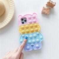 Pop Fidget juguete burbuja de caso para Samsung Galaxy A20 A30S A50S A31 A51 A71 A21 A12 A11 A10E A32 S9 S10 Plus Nota 9 oso cubierta