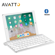 AVATTO 78 Keys Ultra Slim Bluetooth 3.0 Wireless Mini Keyboard with Stand Holder for Tablet ipad iphone Desktop Laptop PC