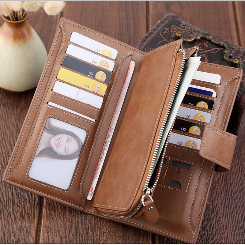 Fashion Lady Women Leather Clutch Wallet Long Card Holder Case Purse Handbag Trifold Card Wallet Clutch Checkbook Purse
