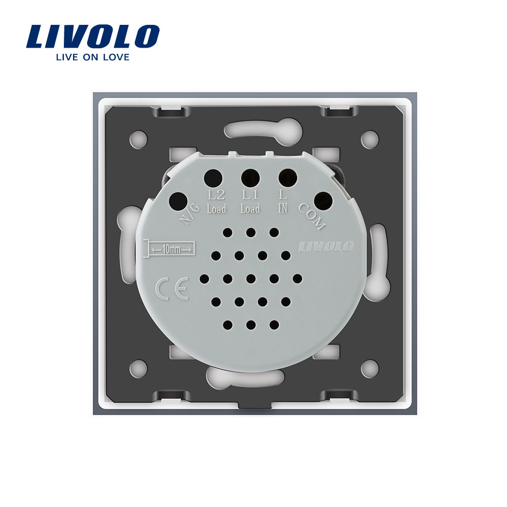 Livolo luxury Wall Touch Sensor Switch,EU Standard Light Switch,Crystal Glass switch power,1Gang 1Way Switch,220-250,C701-1/2/5 6