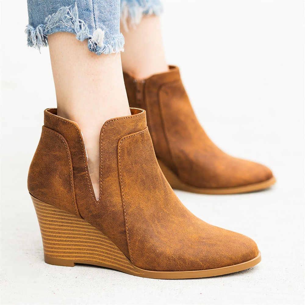 MoneRffi Kadın Botları Kama Artış Yüksek Topuk yarım çizmeler Sivri Burun Patik Yan açılış Fermuar Kadın Ayakkabı kısa çizmeler Bayan