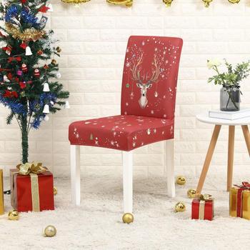 Funda elástica de LICRA para silla de cocina con estampado de flores, decoraciones navideñas, 1/2/4/6 Uds.