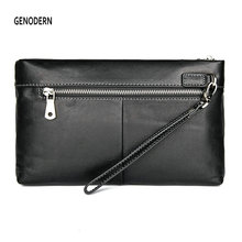 GENODERN New Men's Clutch Bag with Wristlet Genuine Leather Handbag for MenHand Purse Large Wallet Organizer Purse