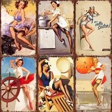 Sexy belas meninas jovem senhora arte pintura poster decoração bar garagem moderna casa decoração retro estanho placa de sinal pintura placa