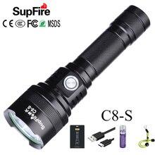 Supfire C8 S SST40 самый мощный светодиодный светильник фонарь USB Магнитный Linterna светодиодный 18650 перезаряжаемый Тактический светильник 2500lm Latarka