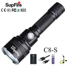 Đèn Pin Supfire C8 S SST40 Mạnh Nhất LED Đèn Pin Đèn Pin USB Từ Linterna LED 18650 Sạc Đèn Chiến Thuật 2500lm Latarka