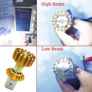 Image 4 - H4 H6 BA20D Motorecycle Scheinwerfer Led lampe 4 Seiten COB Chip 2000Lm Super Helle 6000K 12W Motorrad Scheinwerfer roller Zubehör