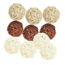 10PCS Wicker Rattan Kugeln Natürliche Kugeln DIY Handwerk Hochzeit Dekoration, Haus Ornamente Vase Füllstoff