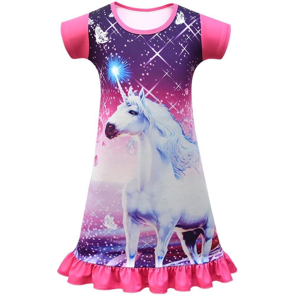 Summer Girls Dress Cartoon Unicorn Pajamas Kids Party Costume Princess Frocks Toddler Nightdress Baby Homewear Children Vestidos 2