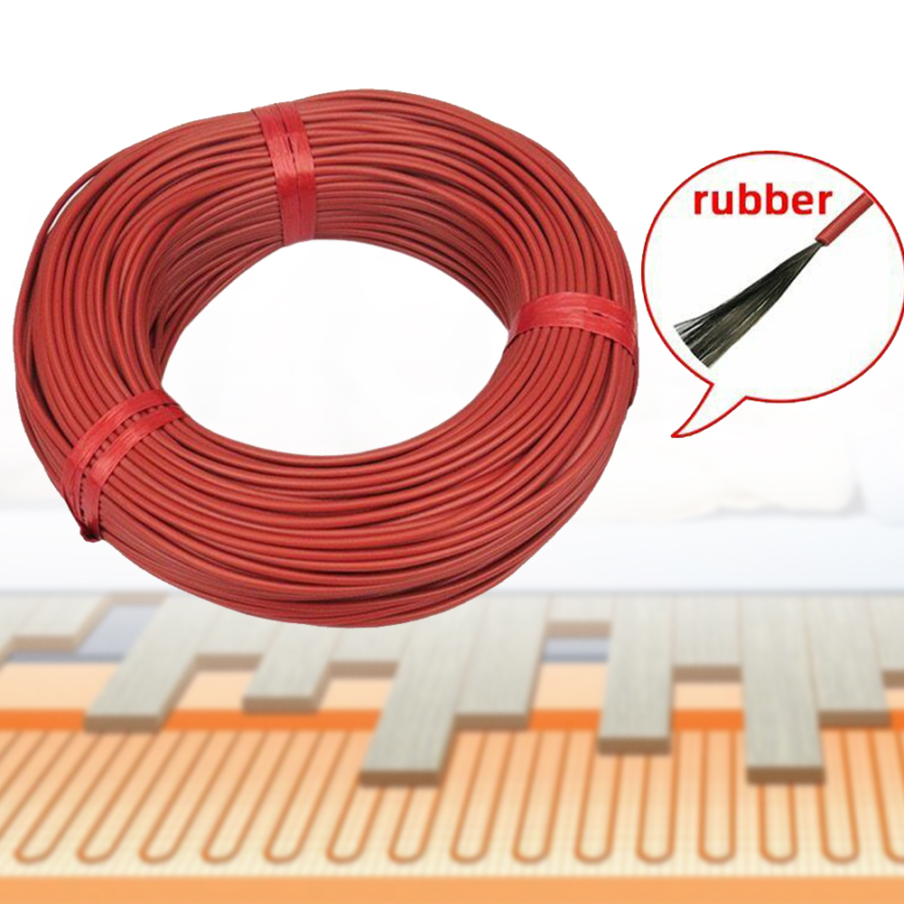 100m 12K Heating Cable Infrared Home Wire Floor Warm Greenhouse Durable Red Carbon Fiber Multipurpose Insulated Electric Blanket