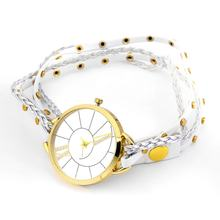 Gadis Wanita Elegan Rantai Anyaman Tali Kulit Gelang Fashion QUARTZ Watch(China)