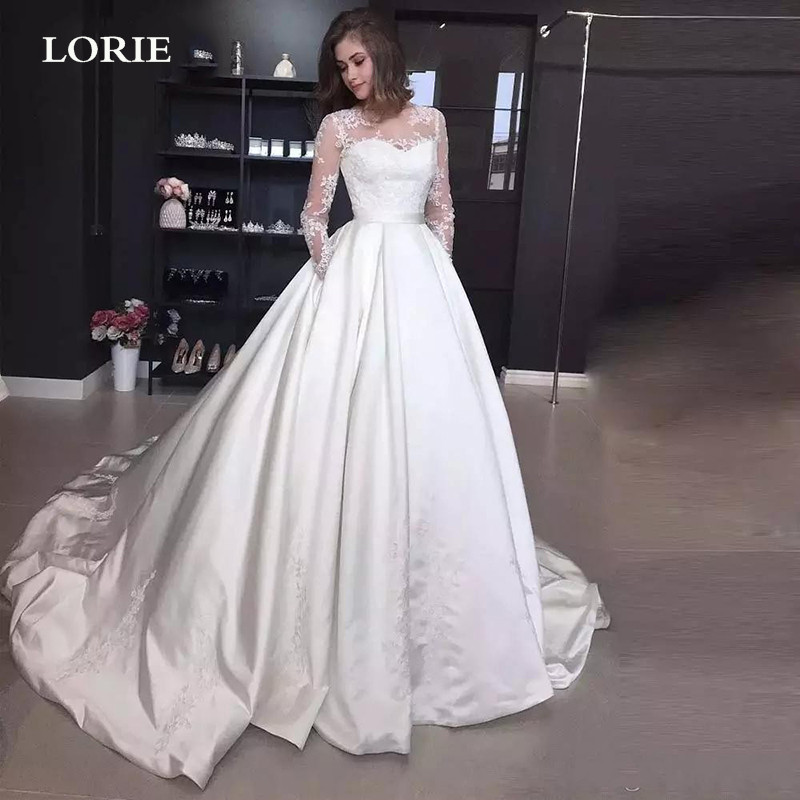 LORIE A Line Satin Wedding Dress Long Sleeve Lace Bride Dress Buttons Back Vestido de novia Wedding Gowns