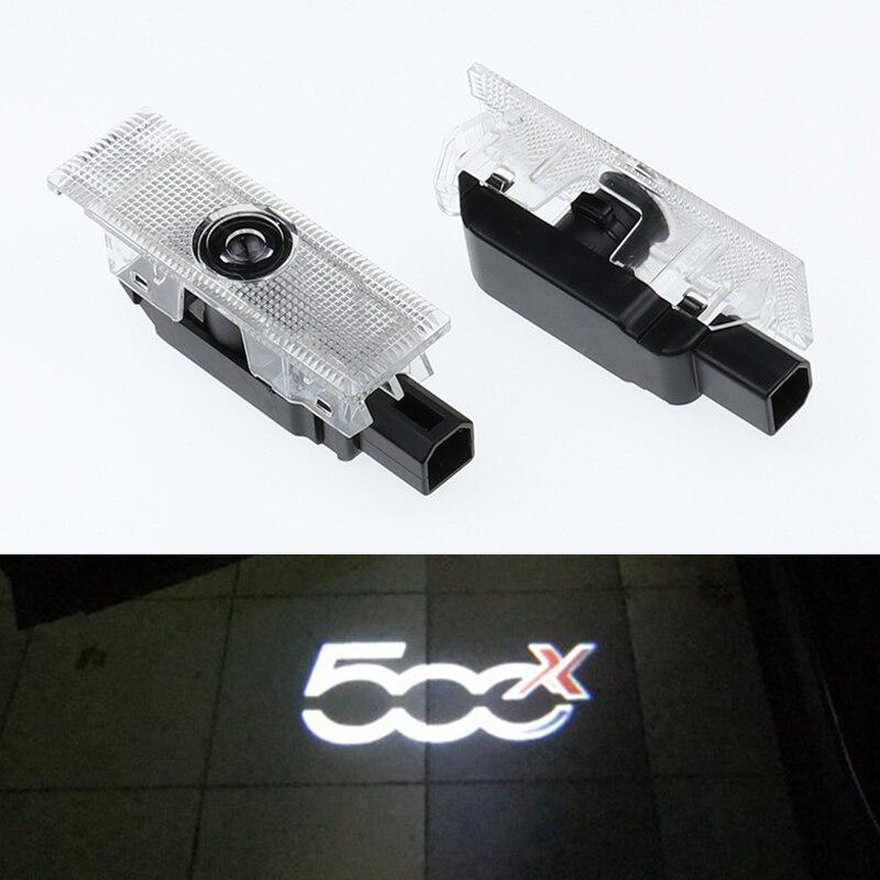 2 шт. светодиодный Двери Автомобиля светильник Добро пожаловать проектор для Fiat 500x 500L Гранд пунто Авто эмблемы лазерный проектор Ghost Shadow лам...
