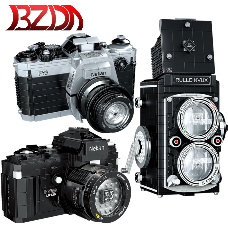 BZDA Mini Retro Camera Digital Camera Building Blocks Retro Collecting Toys Camera Bricks Birthday Gifts For Kids Boys Toys