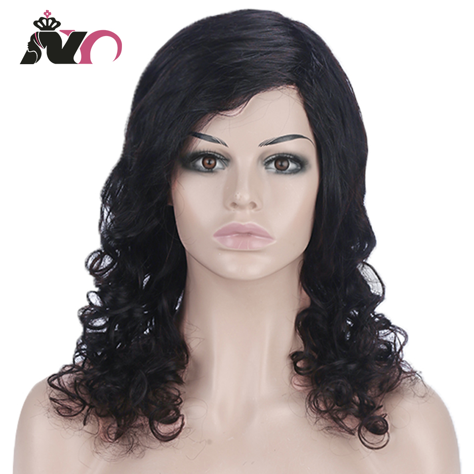 NY Body Wave Wig Peruvian Hair Density Remy Hair Mid-Length Wig Human Hair Wigs For Women Natural Color Full Machine Made Wigs