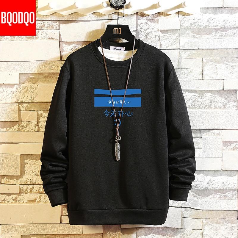 5XL Spring Autumn Sweatshirts Men Black Print Hip Hop Streetwear Casual Sweatshirt Mens Loose Long Sleeve Hoodie Tops PLUS SIZE