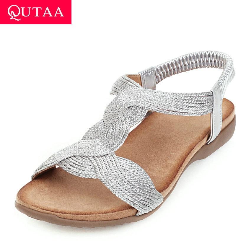 QUTAA 2020 Nylon PU Leather Wedge Heel Casual Ladies Sandals Platform Slingback Summer Elastic Band Women Shoes Big Size 34-43