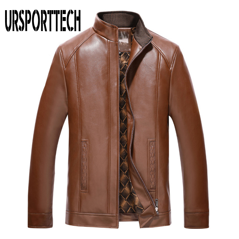 Spring Autumn Brand PU Leather Jackets Men Stand Up Collar Zipper Coats Male Casual Business Leather Jacket Coats Plus Size 4XL